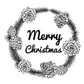 Wreath for Merry Christmas'day. With line art black and white illustration.