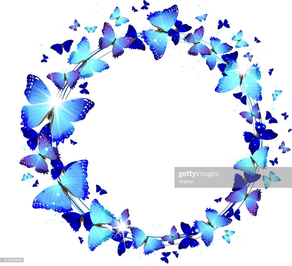 Wreath of Blue Butterflies