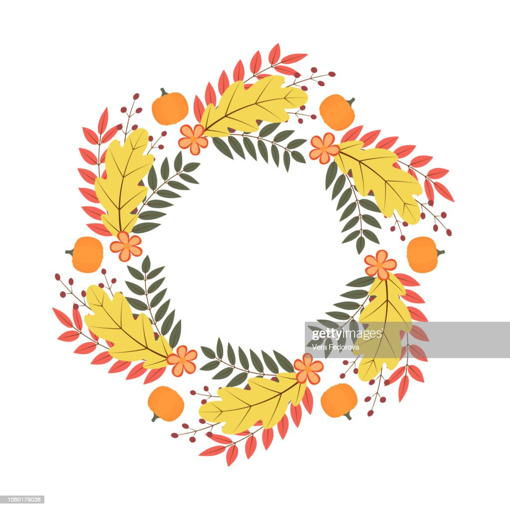 Wreath of colorful autumn leaves, flowers and pumpkin. Fall theme vector illustration. Thanksgiving day greeting card or invitation.