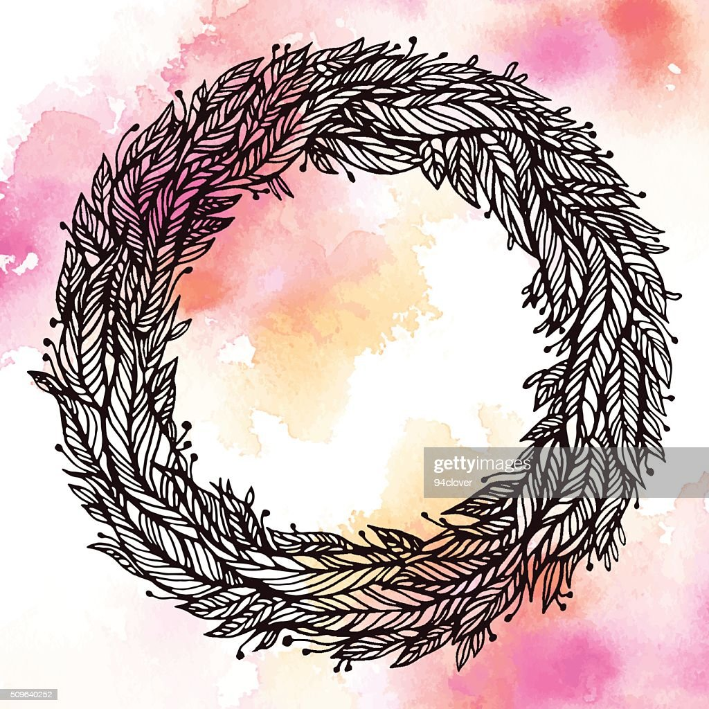 wreath of leaves, feathers, circular pattern on watercolor