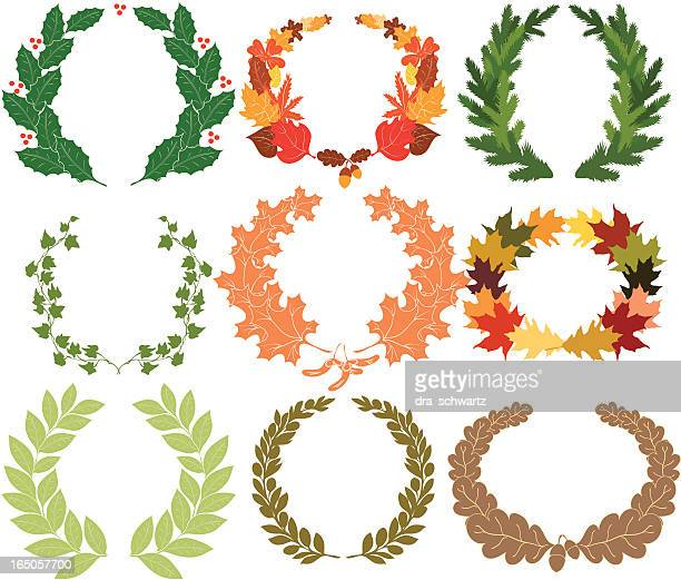 wreath - classical style stock illustrations, clip art, cartoons, & icons