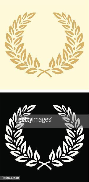 ilustraciones, imágenes clip art, dibujos animados e iconos de stock de corona - rama de olivo