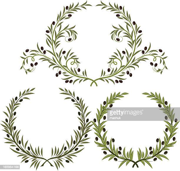 wreath - olive tree stock illustrations, clip art, cartoons, & icons