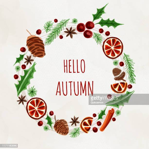 wreath with autumn and winter design elements . circle frame for greeting and invitation cards. hot mulled wine ingredient christmas pattern. dried orange, cinnamon, star anise, acorn, leaves and pine tree background. - mulled wine stock illustrations, clip art, cartoons, & icons