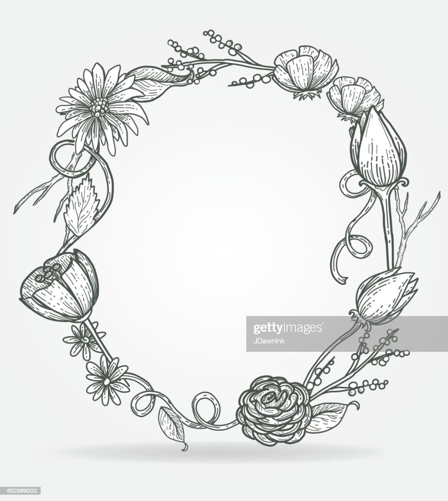 wreath with floral design template vector art getty images