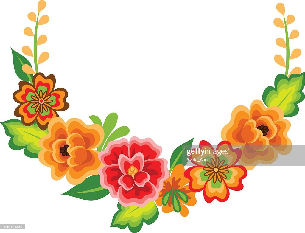 Wreath with mexican flowers