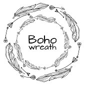 Wreaths of hand drawn feathers with boho pattern and arrows