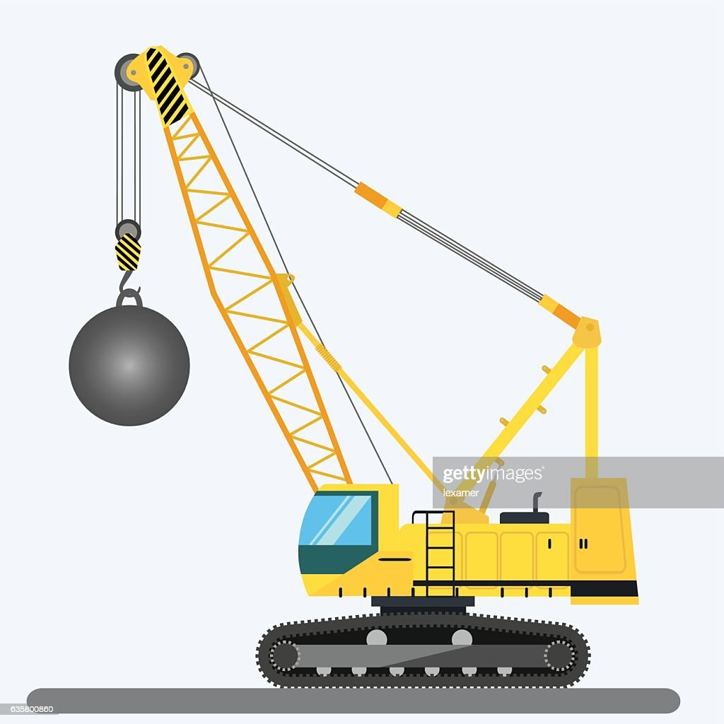 Wrecking ball crane, heavy machinery