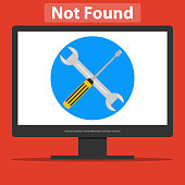 A wrench and a screwdriver on the computer screen. Page error.
