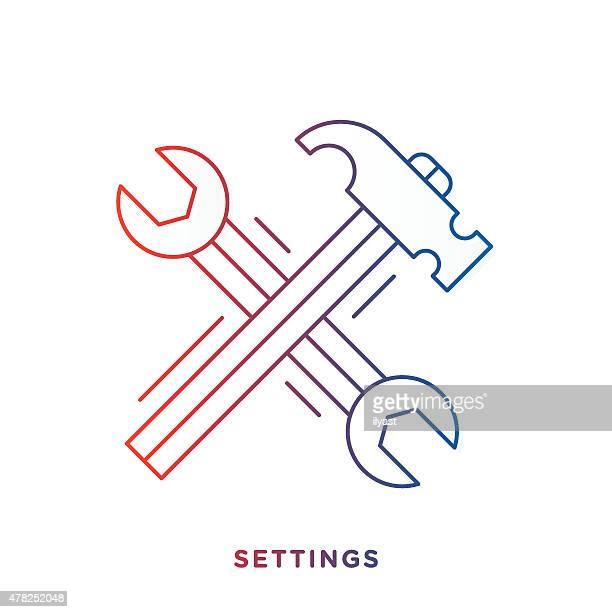 Schraubenschlüssel und Hammer-Symbol