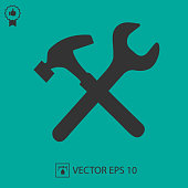 Wrench and hammer vector icon. Handyman symbol. Vector illustration EPS 10.