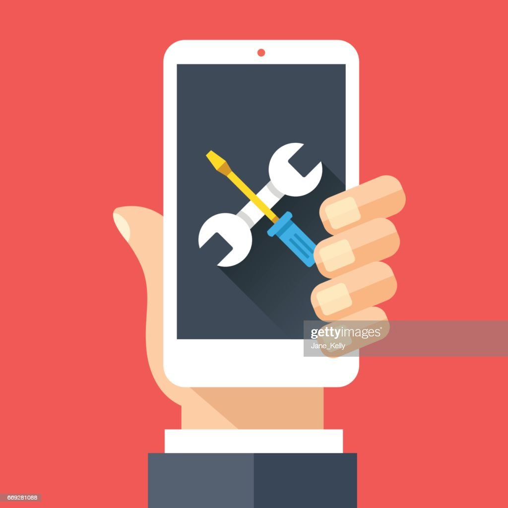Wrench and screwdriver icon on smartphone screen. Hand holding smartphone. Fix, maintenance, mobile phone repair service concepts. Flat design vector illustration