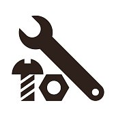 Wrench, nut and bolt icon
