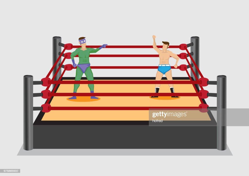 Wrestler in Wrestling Ring Vector Cartoon Illustration