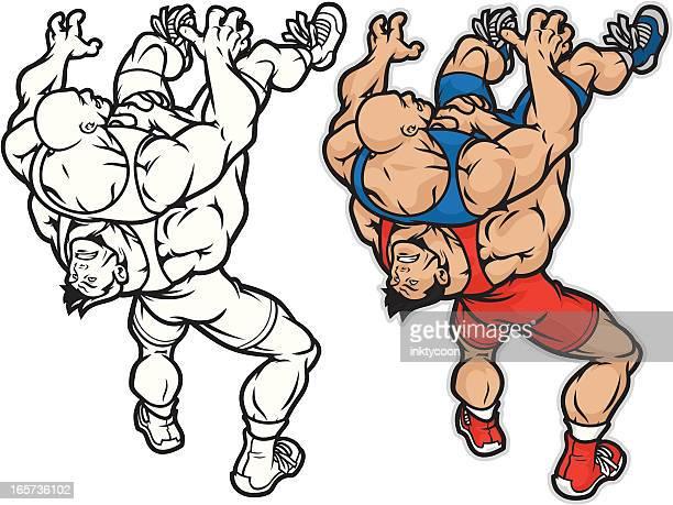 wrestler mayhem - rough housing stock illustrations