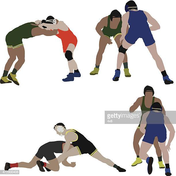 wrestlers in action - rough housing stock illustrations