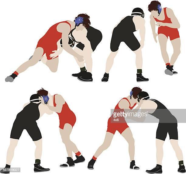 wrestlers - wrestling stock illustrations