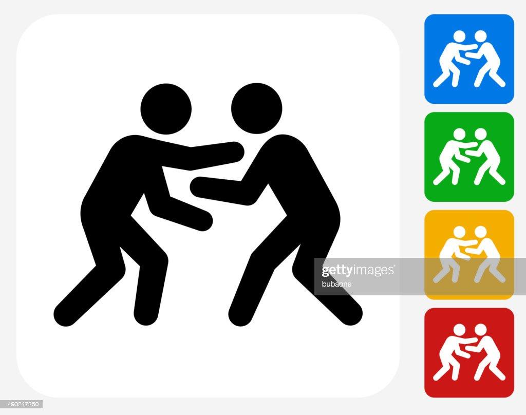 Wrestling Icon Flat Graphic Design