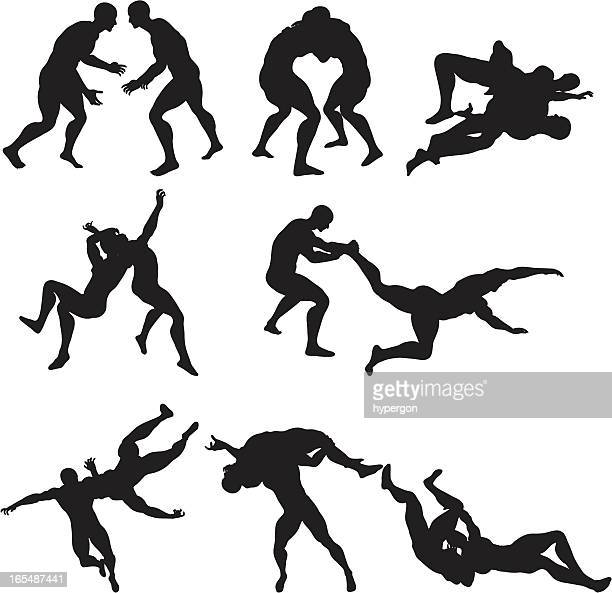 wrestling silhouettes - rough housing stock illustrations