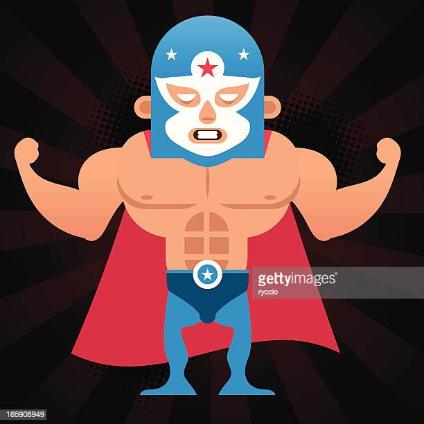 lucha libre - abdominal muscle stock illustrations, clip art, cartoons, & icons