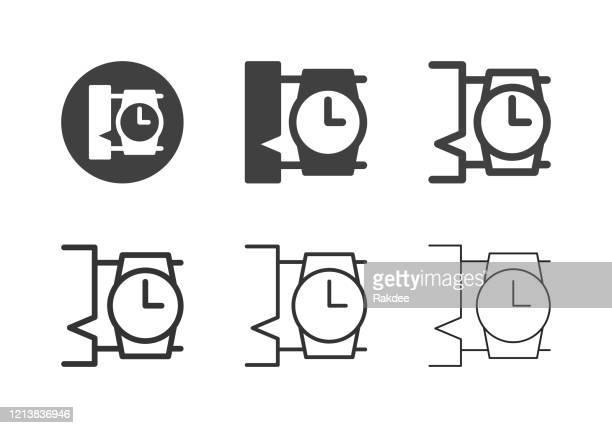 ilustraciones, imágenes clip art, dibujos animados e iconos de stock de iconos de reloj de pulsera - serie múltiple - reloj de bolsillo