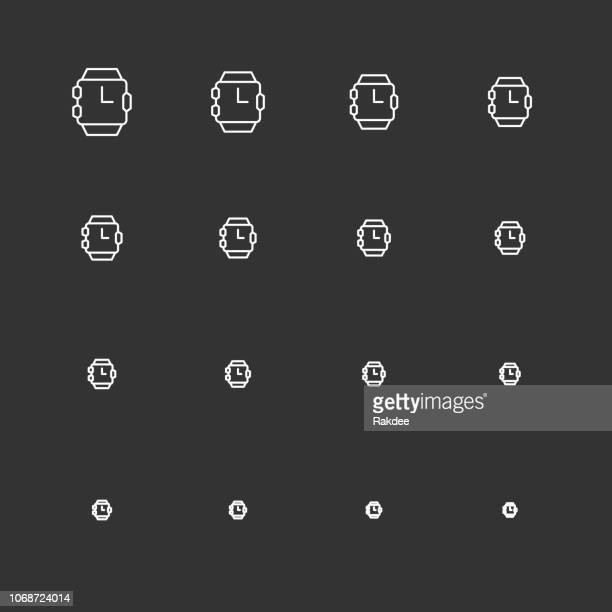 wristwatch icons - white multi scale line series - fitness tracker stock illustrations, clip art, cartoons, & icons