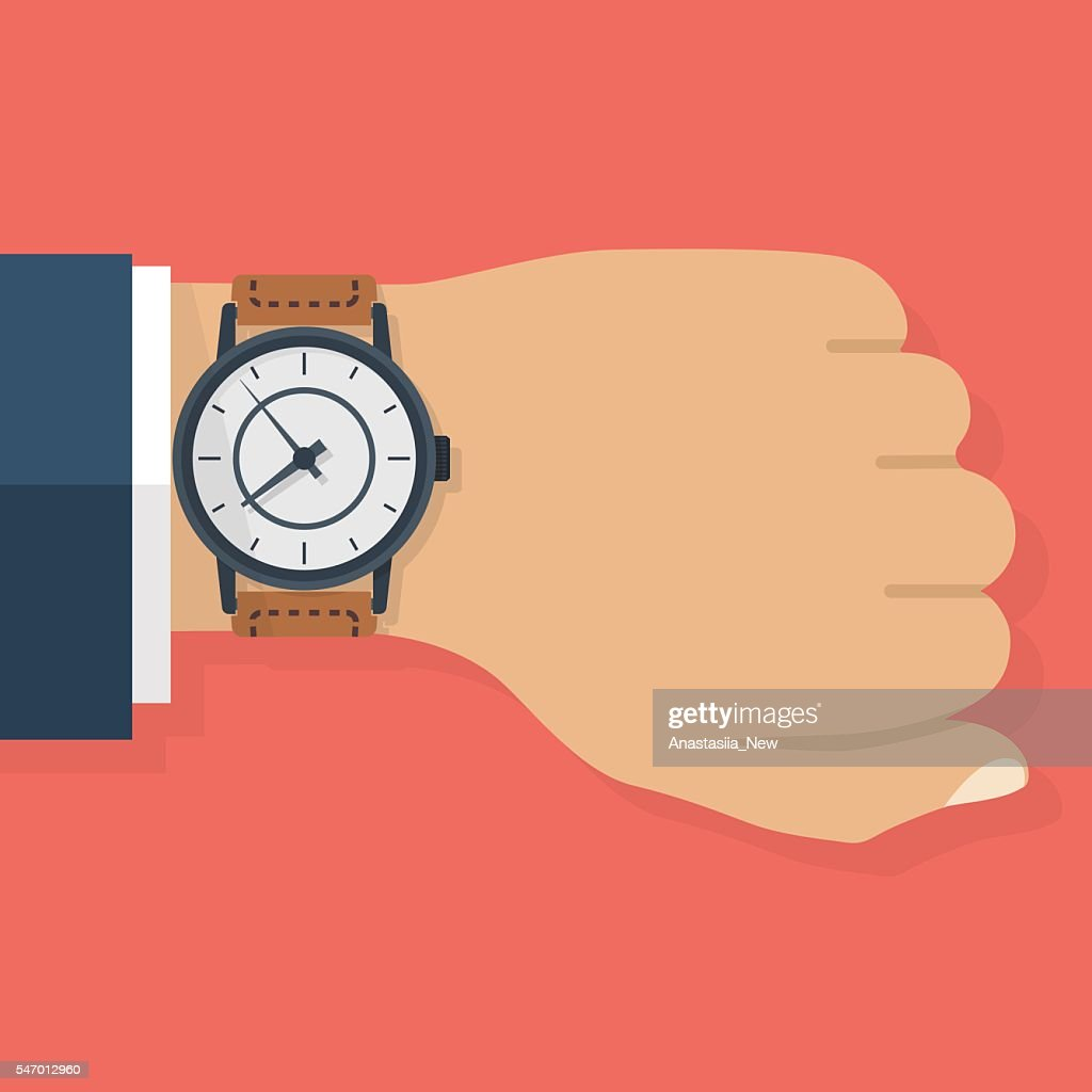 Wristwatch on hand of businessman