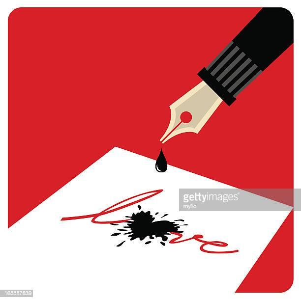 write love! - mont blanc stock illustrations, clip art, cartoons, & icons