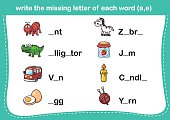 write the missing letter of each word(a,e)