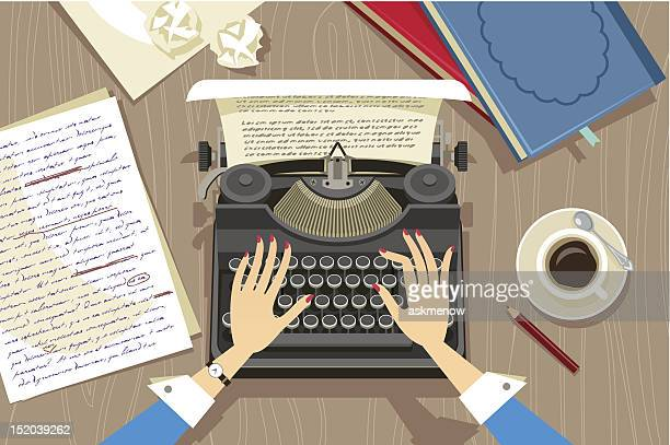 stockillustraties, clipart, cartoons en iconen met writer at work - authors