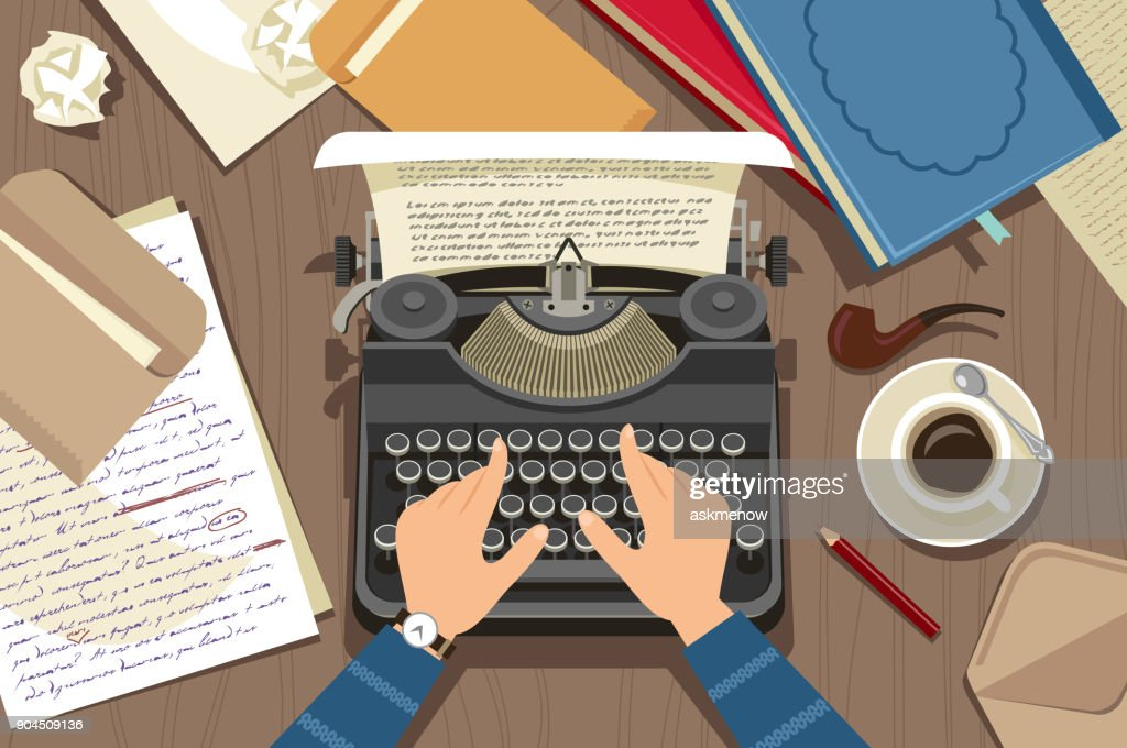 Writer at work : stock illustration