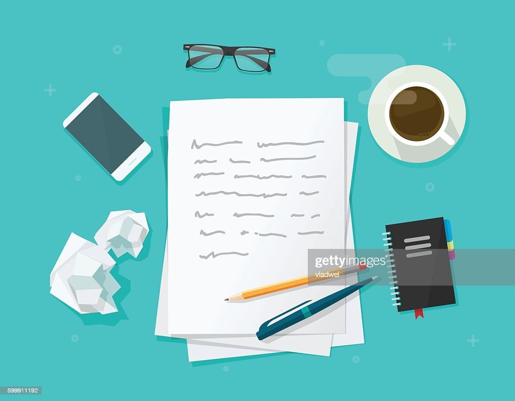 Writer workplace vector, flat cartoon paper sheets on working table