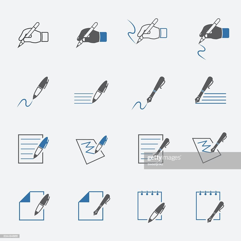 writing and document icon set. vector illustration.