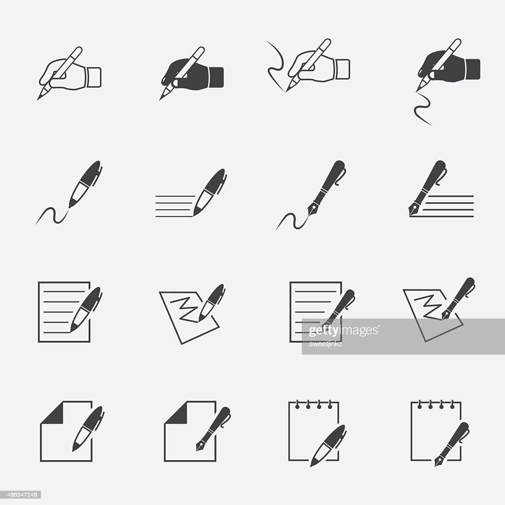writing and document icon setjinkzcircleline