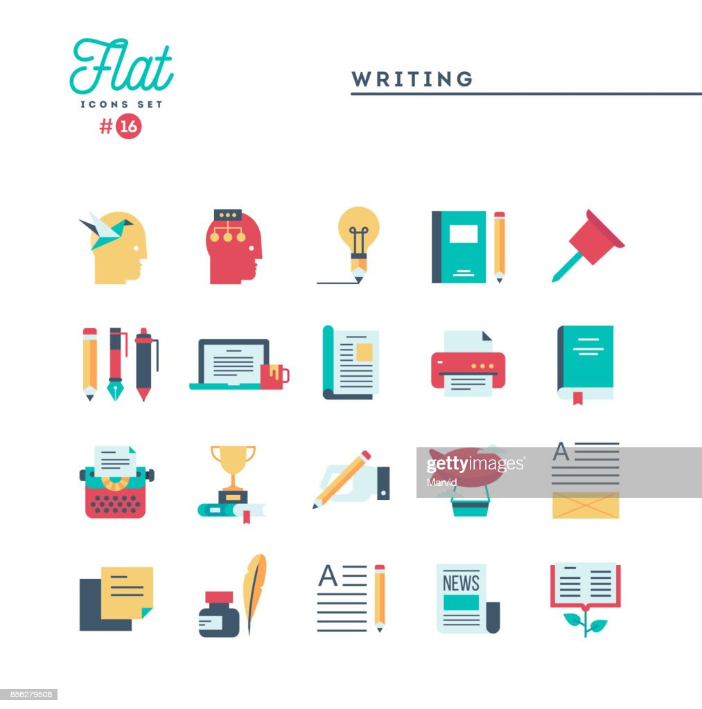 Writing, blogging, best seller book, storytelling and more, flat icons set