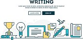 Writing, colorful concept header, flat design thin line style
