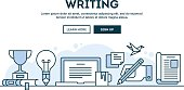 Writing, concept header, flat design thin line style