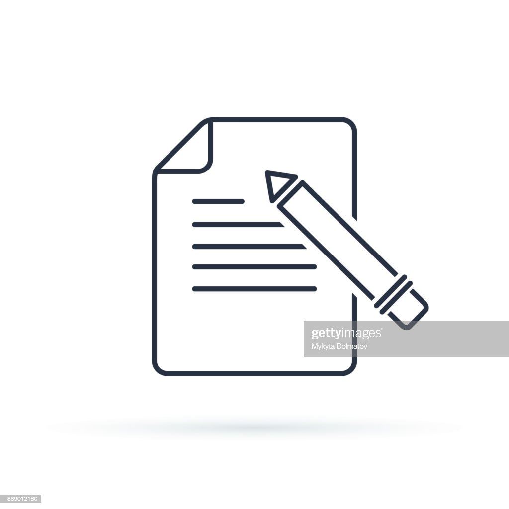 Writing Glyph Vector Icon. Contact form write or edit flat design sign, line pictogram isolated on white.