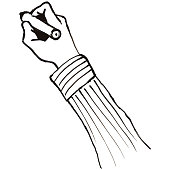 Writing Hand White Board Illustration