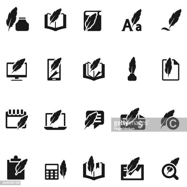schreiben icon-set - organizer stock-grafiken, -clipart, -cartoons und -symbole