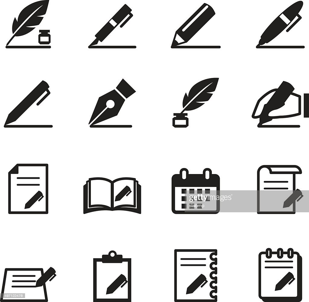 Writing icons set Vector illustration