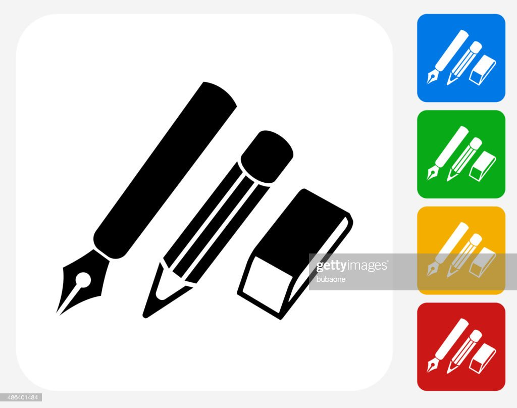 Writing Utensils Icon Flat Graphic Design