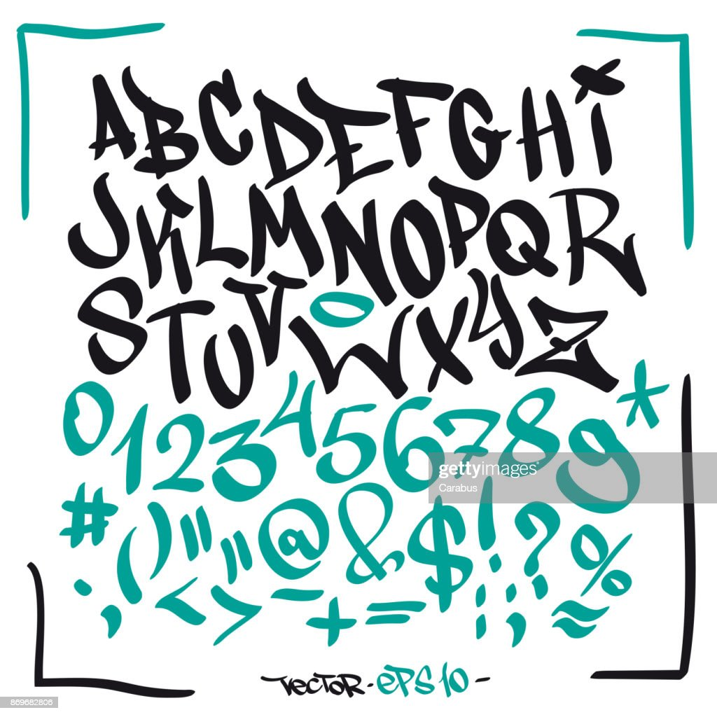 Written graffiti font alphabet. Vector