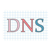 DNS (Domain Name System) written on checkered paper sheet