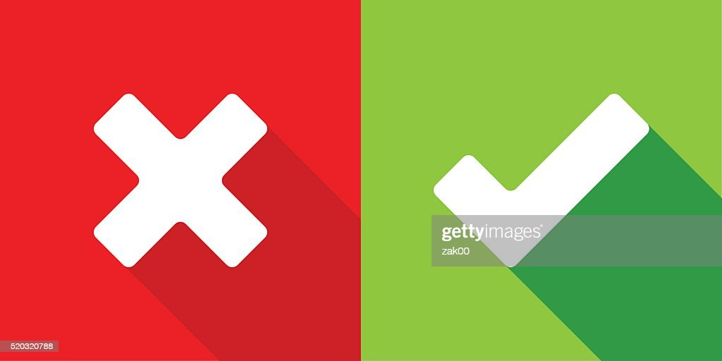 Wrong and right check mark : stock illustration
