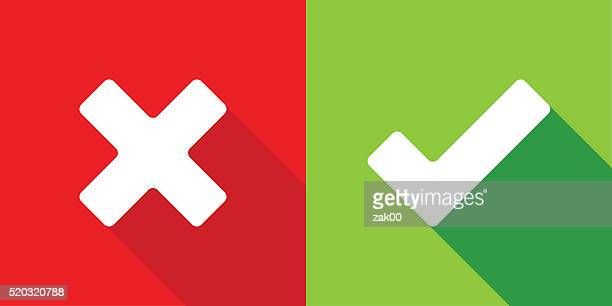 wrong and right check mark - negative emotion stock illustrations