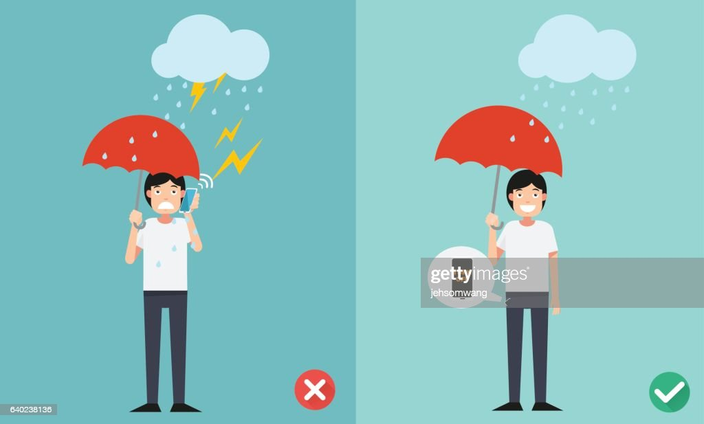 Wrong and right ways.Do not phone call while raining  illustrati