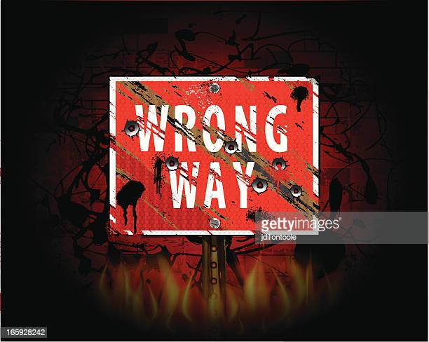 wrong way | urban grunge background - wrong way stock illustrations, clip art, cartoons, & icons