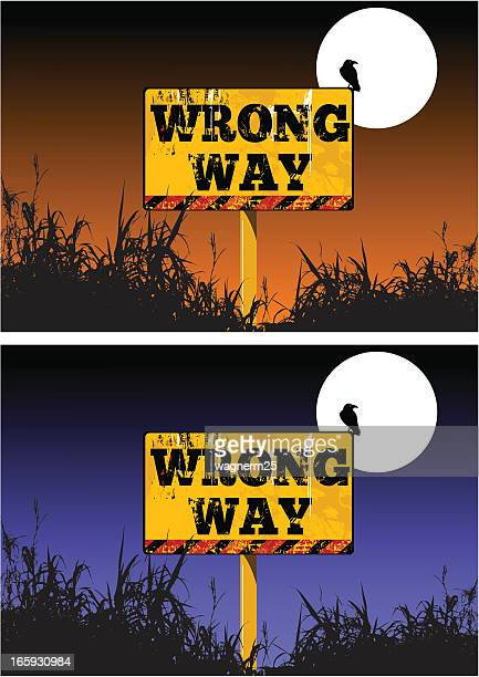 wrong way warning - wrong way stock illustrations, clip art, cartoons, & icons