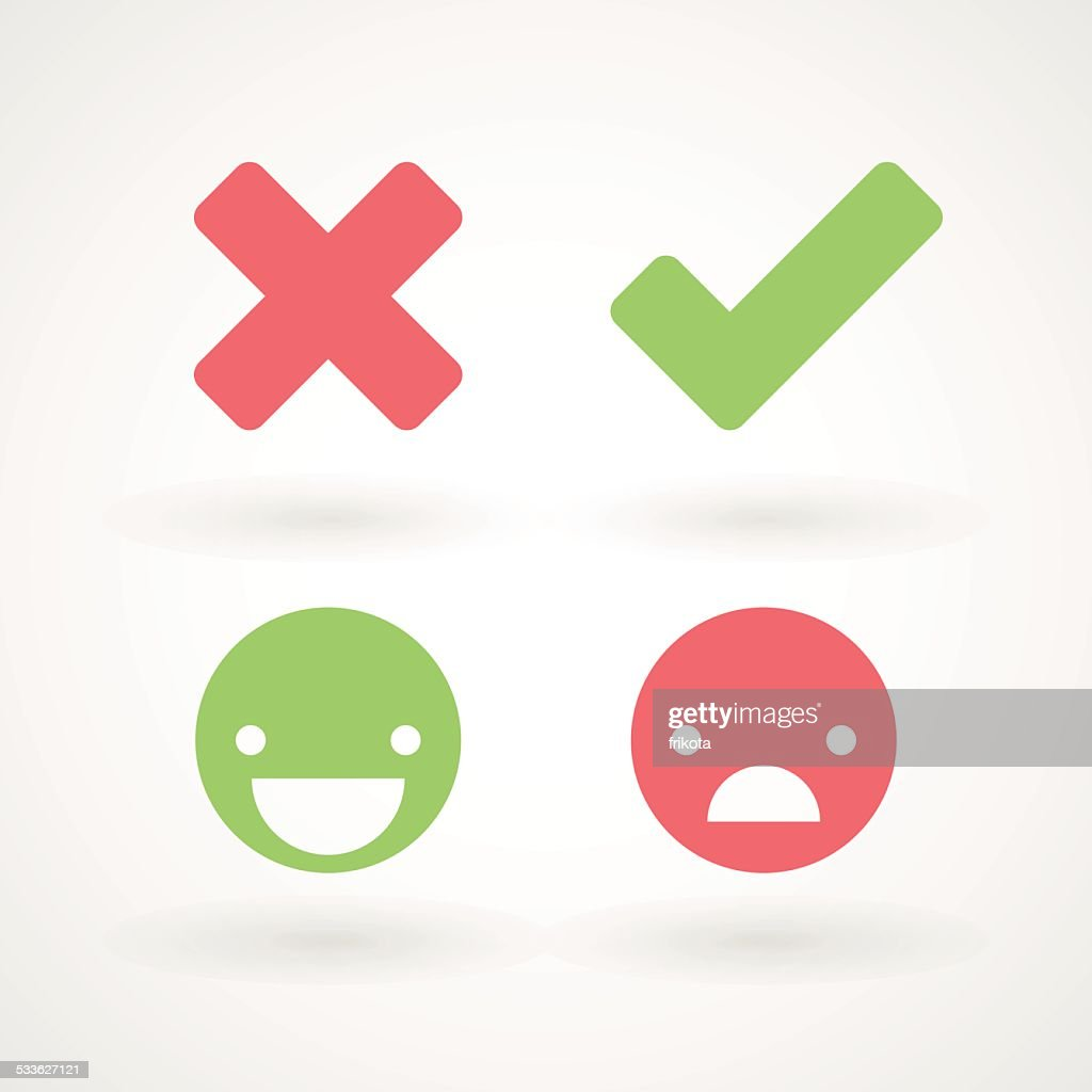 Wrong/right check mark icons. Happy/unhappy smileys